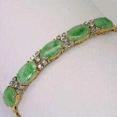 18K Y/G Diamond Jade Bracelet
