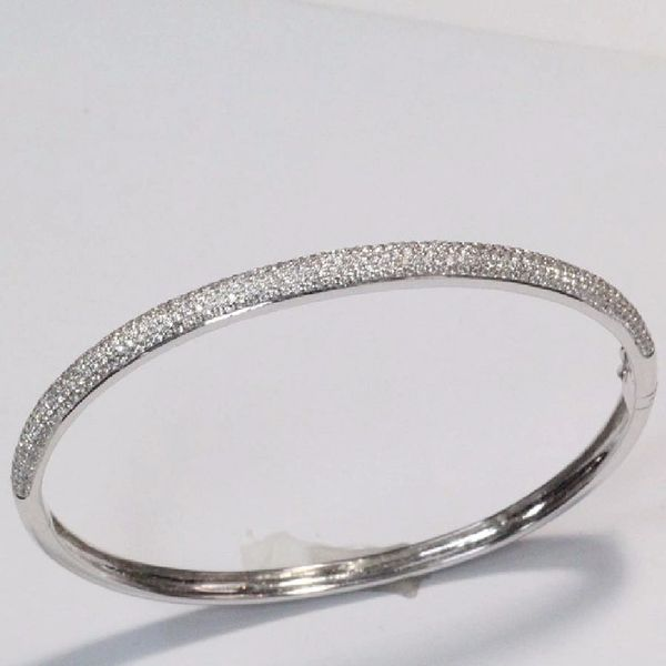 14K W/G Diamond Bangle