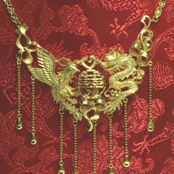 24K Dragon Phoenix Necklace