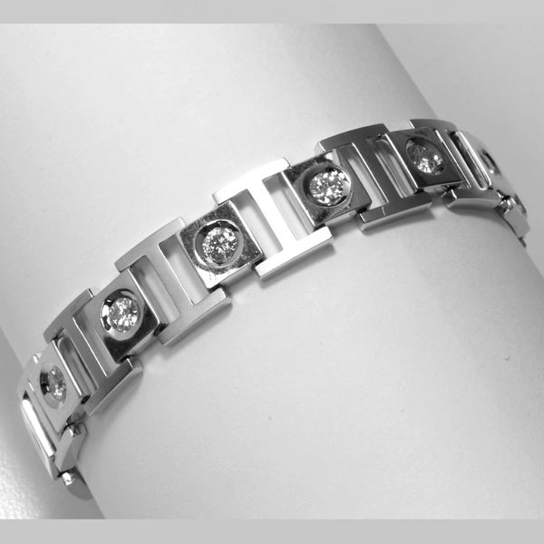 18K White Gold Diamond Men Bracelet
