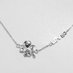 Platinum Love Leaf Necklace
