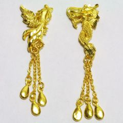 24K Yellow Gold Dragon Phoenix Earrings