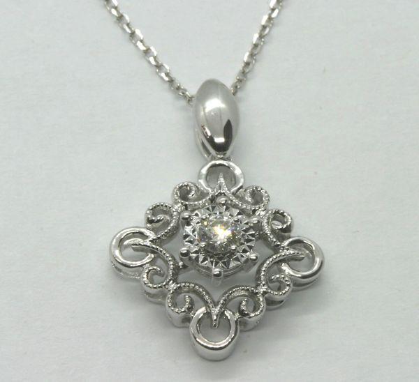 18K White Gold Diamond Pendant 0.08ct