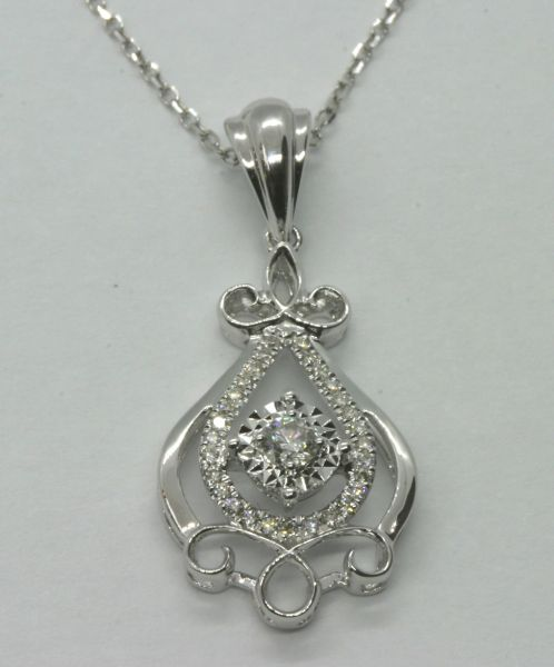 18K White Gold Diamond Pendant 0.134CT