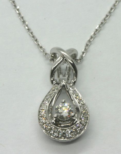 18K White Gold Diamond Pendant 0.18CT