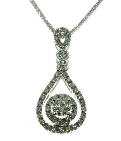 18K White Gold Diamond Pendant 0.326CT