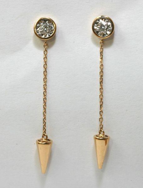18K Rose Gold Diamond Hanging Earrings