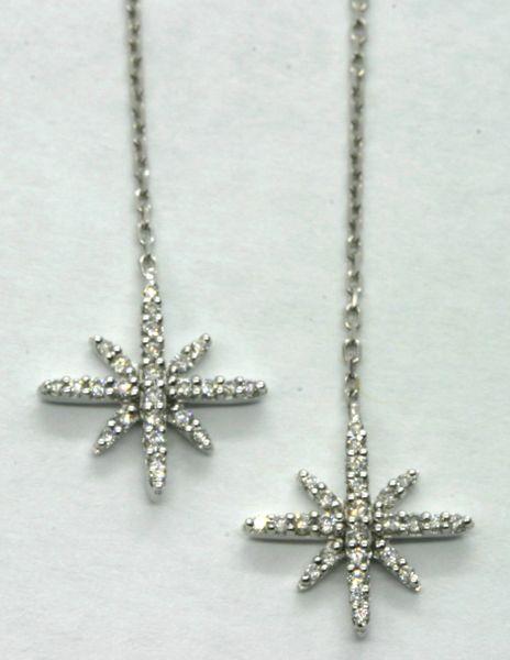 18K White Gold Diamond Hanging Earrings