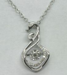 18K White Gold Diamond Swan Necklace