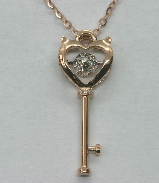 18K Rose Gold Diamond Key Necklace
