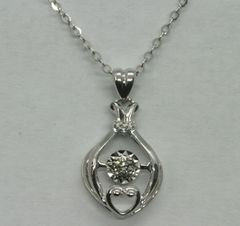 18K White Gold Diamond Necklace 0.052ct
