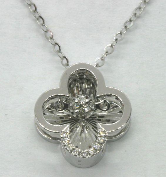 18K White Gold Diamond Necklace 0.045ct