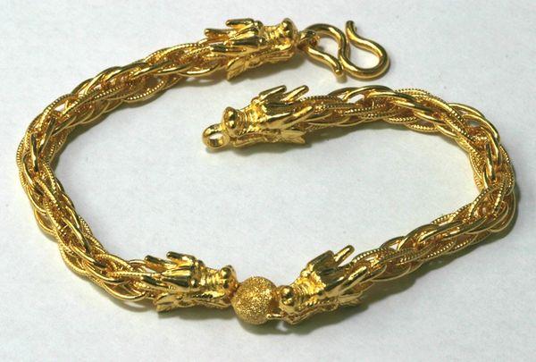 24K Yellow Gold Dragon Heads Bracelet