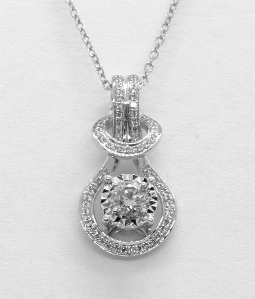 18K White Gold Diamond Pendant D0.277CT