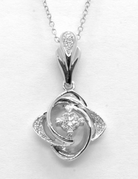18K White Gold Diamond Pendant 0.195CT