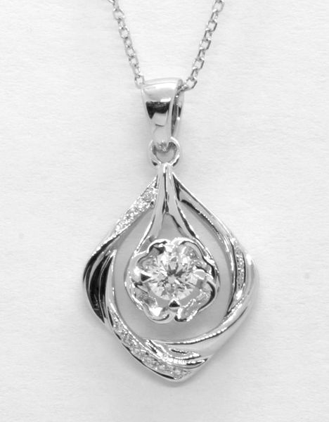18K White Gold Diamond Pendant 0.221CT