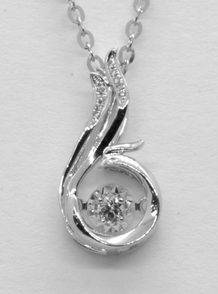 18K White Gold Diamond Necklace 0.047 ct
