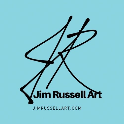 Jim Russell Art Logo, showing initials JR.