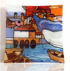 Landscape and Doves - Glass (Sold)