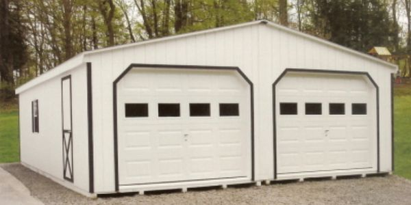 Single story garage on a driveway