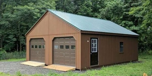 2 car garage with a hinged pitched roof