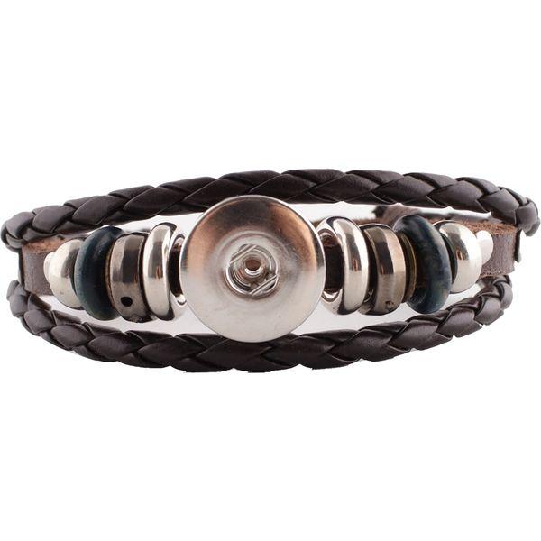 Leather Bracelet_KC0645_Brown_Snaps