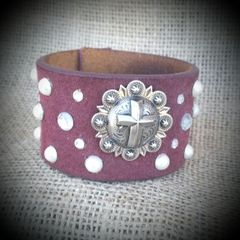 Burgundy Leather Embellished Cuff
