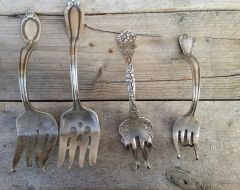Vintage Silver Plate Fork Business Card Holders