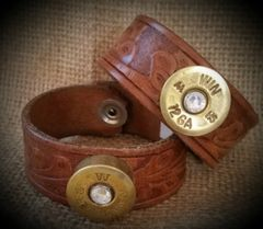 Leather and Shotgun Shell Bracelet