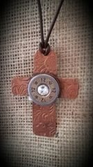 Large Copper Cross w Shotgun Shell Pendant