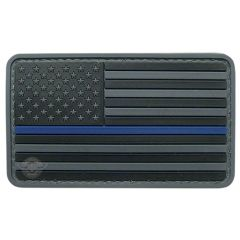 PVC MORALE PATCH - BLACK W/ BLUE STRIPE