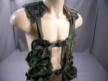 Military Tactical Load Bearing Vest | Woodland Camo | 8415-01-296-8878 | Used