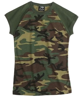 WOMEN'S WOODLAND CAMO SHORT SLEEVE RAGLAN T-SHIRT