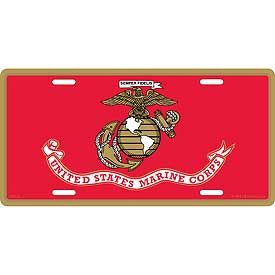 USMC LOGO FLAG LICENSE PLATE