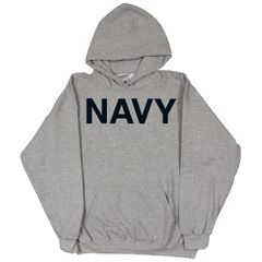 NAVY GREY PULLOVER HOODED SWEATSHIRT