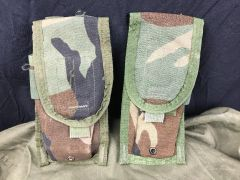 WOODLAND CAMO M-4 TWO MAG POUCH, NSN 8412-00-NSH-0600 - LOT OF 2