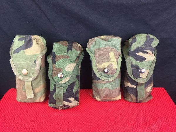 LOT OF 4 - MILITARY WOODLAND CAMO MOLLE II DOUBLE MAGAZINE M16A2 30 ROUNDS POUCH | Very Used