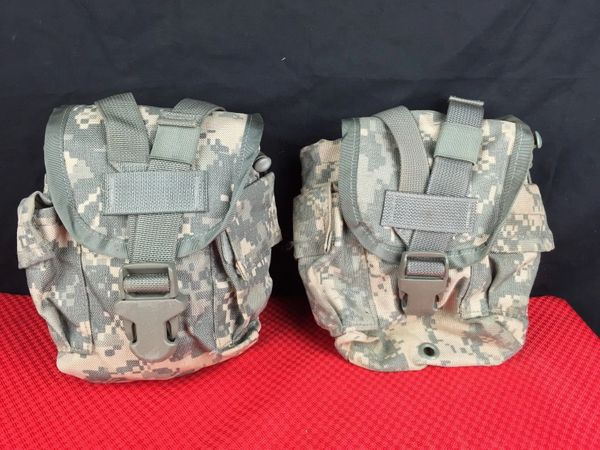 LOT OF 2 - US MILITARY ACU MOLLE II CANTEEN / GENERAL PURPOSE POUCH - USED