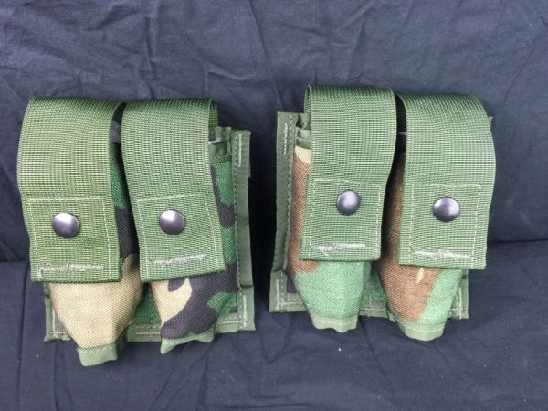 MILITARY MOLLE II 40 PYROTECHNIC POUCH (DOUBLE) WOODLAND CAMO - NEW - LOT OF 2