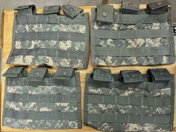 US Military MOLLE THREE MAG SIDE X SIDE POUCHES ACU DIGITAL CAMO - NEW - LOT OF 4