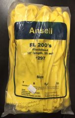 "Ansell FL 200's Flocklined Latex Gloves #297 12"" Length 20 mil (1dozen/pack) 