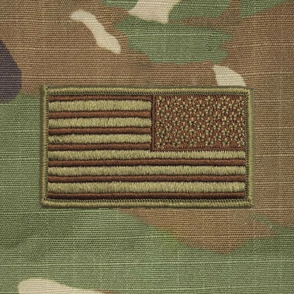 AIR FORCE FLAG PATCH: UNITED STATES OF AMERICA - OCP SPICE BROWN AND BAGBY  GREEN FLAG REVERSED WITH HOOK CLOSURE