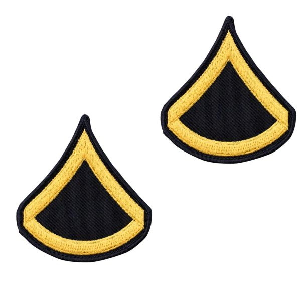 ARMY CHEVRON: PRIVATE FIRST CLASS - GOLD EMBROIDERED ON BLUE, MALE - SET OF 2