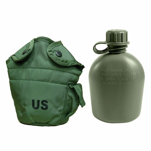 Military 1-Quart Canteen & LC2 OD Pouch Set