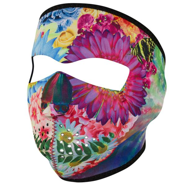 FLOWER SKULL WNFM182 Motorcycle Biker Ski Neoprene FULL Face Mask Reversible