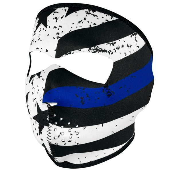 THIN BLUE LINE FULL MASK WNFM119 Biker Ski Neoprene FULL Face Mask Reversible
