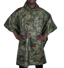 MILITARY STYLE RIPSTOP PONCHO - WOODLAND CAMO