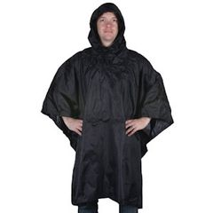 MILITARY STYLE RIPSTOP PONCHO - BLACK