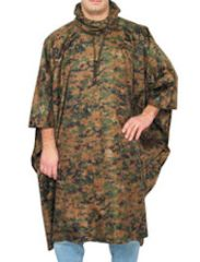 MILITARY STYLE RIPSTOP PONCHO - DIGITAL WOODLAND