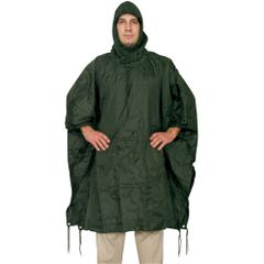 MILITARY STYLE RIPSTOP PONCHO - OLIVE DRAB GREEN